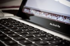 Detail of a MacBook Pro's screen and keyboard