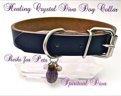 The Healing Crystal Diva Dog Collar,Unisex,Genuine Gemstone,Genuine Leather,Black,size Large ,2 Description Cards, and Gift Bag by TheSpirtualDiva on Etsy