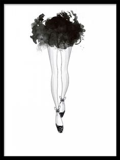 Ballerina, poster. Fashion illustration. Poster med fashion illustration av en ballerina med kort kjol. Ett oerhört vackert och stilrent motiv som ger väggen ett stillyft. Denna poster passar jättebra både ensam och tillsammas med några av våra fashion tavlor eller svartvita posters.