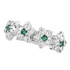 Emerald & Diamond Flower Fashion Ring in 14k White Gold