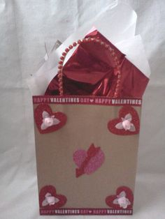 Buy Now! Plus FREE shipping just in time for Valentine's Day gift giving! ~Handmade Happy Valentine's Day Heart & Roses Gift Bag