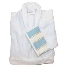 Egyptian cotton robe with blue and white detail.Product: RobeConstruction Material: 100% Egyptian cottonColor: White and puttyFeatures: Unisex terry bath robeTwo front patch pockets    Cleaning and Care: Machine washable