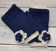 Navy Blue Fingerless Gloves With Ivory Flower Trim by TannaGail