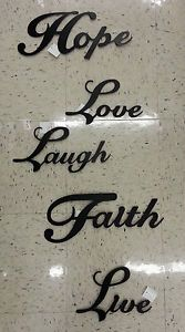 Family Decorative Plaques | Metal Word Wall Home Decor Family Hope Love Laugh Faith Live | eBay