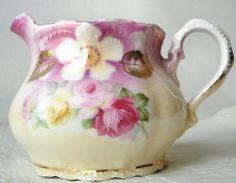 Antique Leuchtenburg Creamer, Pink Floral Lustre, Germany