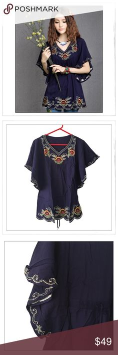 """Blue Embroidered Boho Peasant Style Tunic Top ✨Blue Embroidered Boho Peasant Style Tunic Top✨Adorable Embroidered Peasant Boho Tunic With An Over-The-Border Vibe✨Generous Fit With Detailed Embroidery For A Cool, Laid Back Look✨Butterfly Open Sleeve Gives This Top A Relaxed, Generous Fit✨ Approx Measurements: Busy-40""""/Length-29""""✨Cotton✨One Size✨Fits Small To Large✨NEW-Direct From Manufacturer Without Tags✨Machine Wash Gentle Or Hand Wash And Hang Dry✨Dark Blue✨{White Available In Another…"""