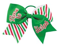 It's that time again…time to slay all day with the Chassé Time to Sleigh Hair Bow! Add some puns to your holiday spirit and shop all low-priced cheerleader holiday accessories. Cheerleading Hair Bows, Cheer Hair Bows, Ribbon Hair Bows, Daughters, To My Daughter, Santa Sleigh, Peppermint, Christmas Ornaments, Holiday Decor