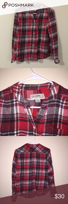Red plaid button up Red plaid button up nice no collar top missing a bottom love to wear this tied around my waist or as an extra layer in the winter!  No trades Offers accepted  Bundle and save!! Madewell Tops Button Down Shirts