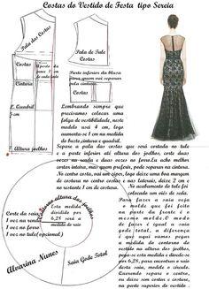 Sleeveless long dress back pattern  Vestido longo