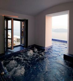This is amazing! What a great indoor/outdoor #pool #spa
