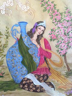 Picture sample to be painted on tile panel Islamic Paintings, Iranian Art, Islamic Art Calligraphy, Motif Floral, Naive Art, Illustrations And Posters, Artist Painting, Beautiful Paintings, Art Pictures