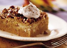 Praline Pumpkin Dessert~my MIL makes this every year (she uses 2 cans of pumpkin)...YUM!