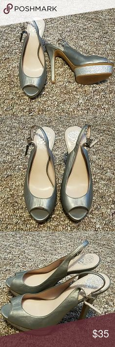 """VINCE CAMUTO HEELS. Pretty vince camuto heels.Size 7 and 5"""" high heels.Color gray and silver.Used some wear seen on the pictures. Vince Camuto Shoes Heels"""