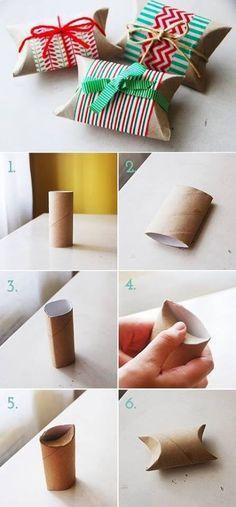 Paquetitos hechos con rollos de papel higiénico...