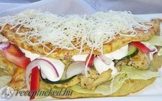 Ördöglángos recept fotóval Hungarian Cuisine, Hungarian Recipes, Hungarian Food, Potato Recipes, My Recipes, Gyro Pita, Food Humor, No Cook Meals, Tzatziki
