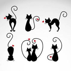 Cats in Love Vector Illustrations - Cricut - Gatos Cat Icon, Cat Drawing, Cat Love, Crazy Cats, Rock Art, Cats And Kittens, Tatoos, Cat Tattoos, Silhouettes