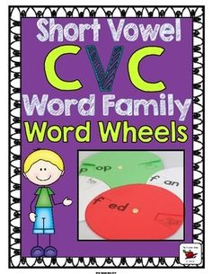 """Word Wheels - Short Word Family Word Wheels: These Word Family Wheels have been designed with differentiation in mind. A fun and engaging activity for students to read the picture or word. Each Word Wheel is approximately 5"""" in diameter and has the onset and picture (in color and black & white) on the bottom circle, and the rime on the top circle."""
