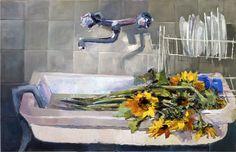 I girasoli di Maria, 2004, olio su tavola, 90x140 cm, Letizia Fornasieri