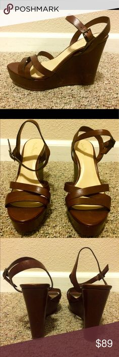 Cole Haan Wedge Sandal Walkable wedge sandals feature an almond open toe, crisscross vamp straps, and adjustable ankle strap. Cole Haan Shoes Wedges