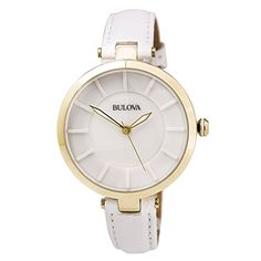 Bulova Dress White Dial White Leather Ladies Watch 97L140 >>> Click image to review more details.