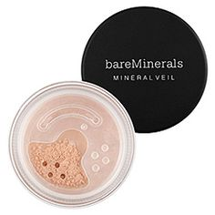 "bareMinerals - Mineral Veil <3 I love this product and it's paraben/sulfate/synthetics/petrochemical/phthalate fee ""finishing touch""! Mineral Veil ""melts into our skin, infusing it with softness and light, giving the look you see with a soft focus camera lens...."" The perfect loose powder to even out complextion and minimize the appearance of pores without the excessive buildup of a cakey makeup product!"