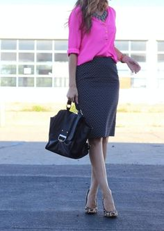 polka dots / leopard heels / bright blouse // member Lilly of Lilly's Style