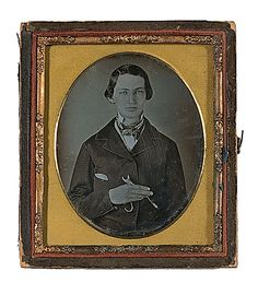 ca. 1850's, [daguerreotype portrait of a young dentist holding forceps in his hand]    via Cowan's Auctions