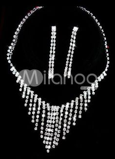 Glaring Silver Alloy Rhinestone Tassel Wedding Jewelry Set For Brides - Milanoo.com