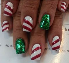 Instagram photo of acrylic nails by botanicnails  With red bow on ring fingers