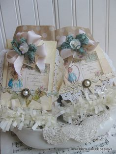 shabby chic SET of TWO polka dot kraft embellished gift bags candy treat containers decorations