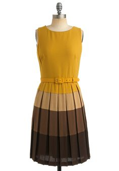 Yellow and brown dress