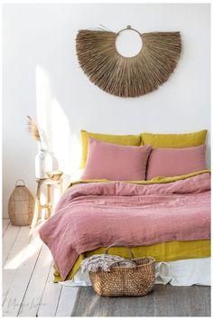 Design Hotel, Home Design, Design Design, Interior Modern, Home Interior, Interior Design, Pink Bed Sheets, Linen Sheets, Washed Linen Duvet Cover