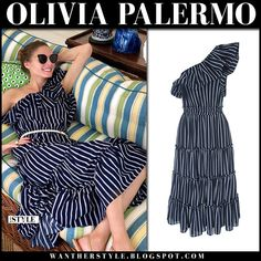Olivia Palermo in navy striped one shoulder dress and sunglasses