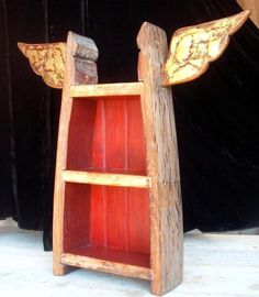 Winged Shelf from recycled wood