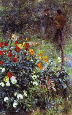 The Garden in the rue Cortot, Montmartre by Pierre-Auguste Renoir - Pierre-Auguste Renoir's The Garden in the rue Cortot, Montmartre features Claude Monet in the background. Find out about this Impressionist painting. Pierre Auguste Renoir, Claude Monet, August Renoir, Renoir Paintings, Flower Paintings, Carnegie Museum Of Art, Art Français, Impressionist Paintings, Fine Art