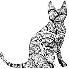 Zentangle Cat Drawing by ayseart-un