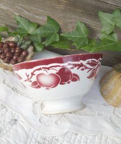 Ancien bol K&Guerin Lunéville décor pomme 1945