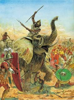 A Carthaginian elephant tramples two Velites, as a 3rd cent. B.C. Roman Centurion shouts out orders on the left.