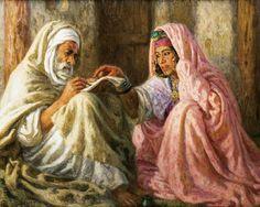 Algérie - Peintre Français, Alphonse Etienne DINET (1861-1929), huile sur toile ,Titre: L'écrivain Public