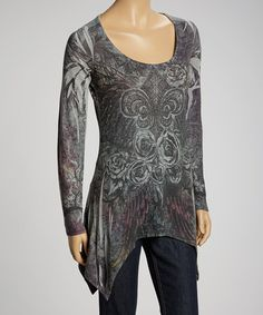 Take a look at this Black Fleur-de-Lis Rose Sidetail Top by Liberty Wear on #zulily today!