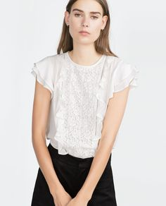COMBINED LACE BLOUSE-Plain-Tops-WOMAN | ZARA United States