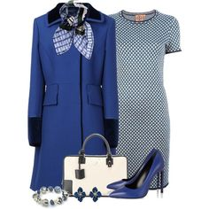"""""""Blue and Black Coat"""" by cathy0402 on Polyvore"""