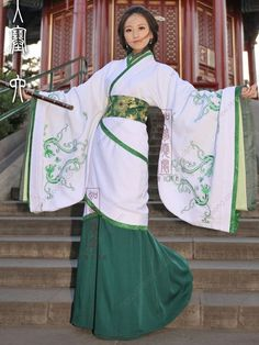 Women's Cotton White Curved hem dress Wide sleeves Han Dynasty Hanfu Clothing - USD $ 314.00