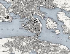 Old Map of Stockholm, Sweden 1844  vintage-maps-prints.com