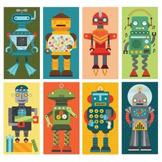 Robot Remix: each card is divided into three pieces, for endless mix and match play.