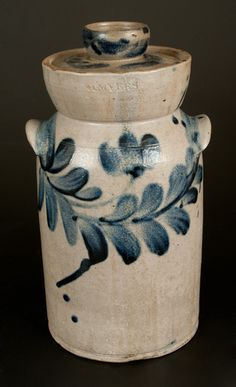 Lot 60. Extremely Rare H. MYERS Baltimore Stoneware Churn with Floral Decoration, c1825 -- March 1, 2014 Stoneware Auction by Crocker Farm, Inc.