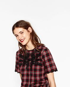 ZARA - WOMAN - EMBROIDERED CHECKED BLOUSE