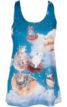 e07e764e559cd Sidecca Cats and Donuts Tank-Blue-Small