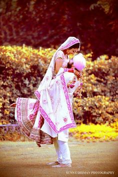 pink and white punjabi wedding
