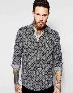 ASOS Shirt In Bandana Print With Long Sleeves